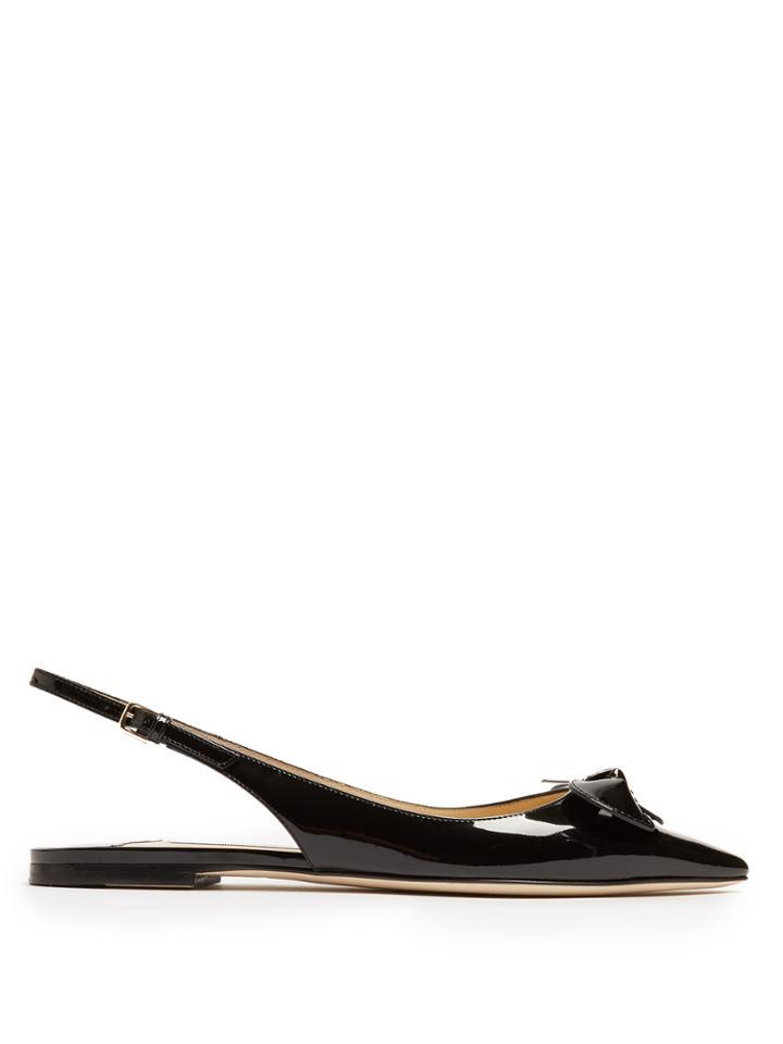 Jimmy Choo Blare Point-toe Slingback Patent-leather Flats