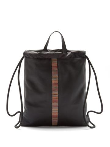Matchesfashion.com Paul Smith - Signature Stripe-trim Leather Drawstring Backpack - Mens - Black