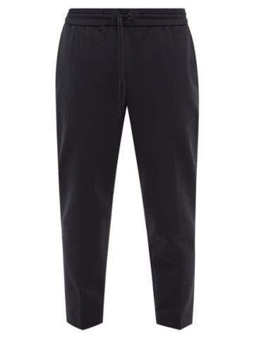 Moncler - Cropped Jersey Slim-leg Track Pants - Mens - Black
