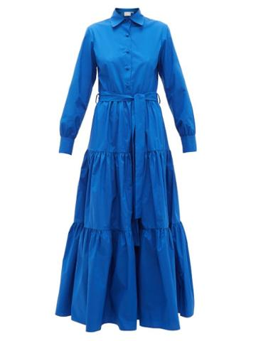 Matchesfashion.com La Doublej - Bellini Tiered Cotton Poplin Dress - Womens - Blue