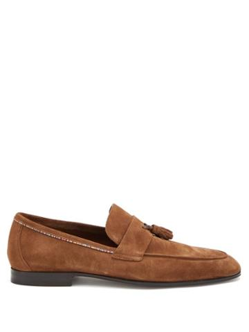 Matchesfashion.com Paul Smith - Hilton Signature-stripe Tasselled Suede Loafers - Mens - Brown