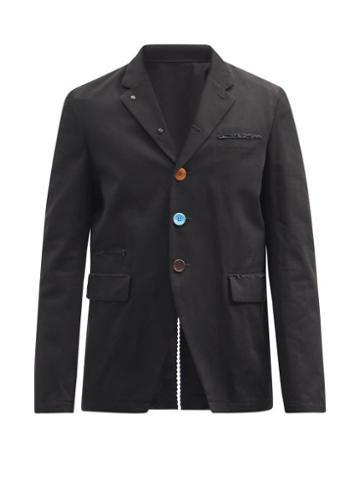 Matchesfashion.com Undercover - Single-breasted Distressed Cotton-twill Blazer - Mens - Black