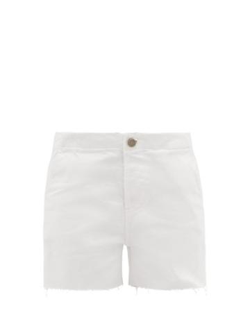 Matchesfashion.com Raey - Panelled Cut Off Denim Shorts - Womens - White