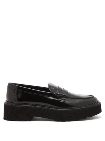 Tod's - Raised-sole Patent-leather Penny Loafers - Womens - Black