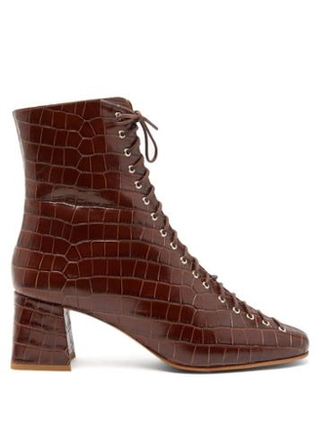 Matchesfashion.com By Far - Becca Lace Up Crocodile Effect Leather Ankle Boots - Womens - Dark Brown