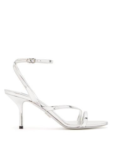 Matchesfashion.com Prada - Mirrored Leather Sandals - Womens - Silver