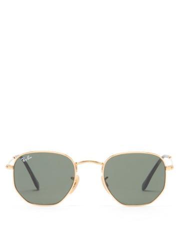 Ray-ban - Hexagon Metal Sunglasses - Womens - Green Gold