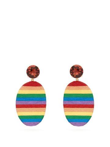 Matchesfashion.com Maryjane Claverol - Happy Zone Stripe Clip Earrings - Womens - Multi