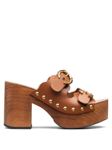 Matchesfashion.com Chlo - Ingrid Buckled-strap Leather Clogs - Womens - Tan