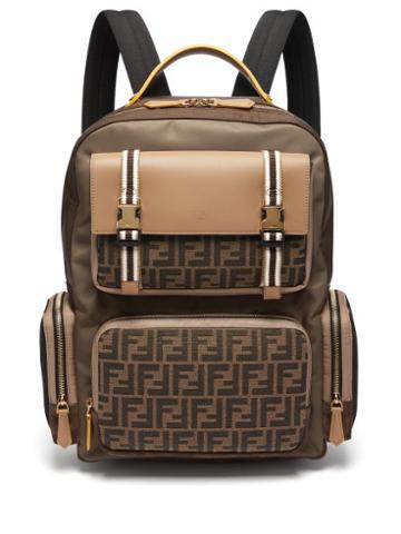 Matchesfashion.com Fendi - Ff Panelled Leather & Nylon Backpack - Mens - Brown Multi