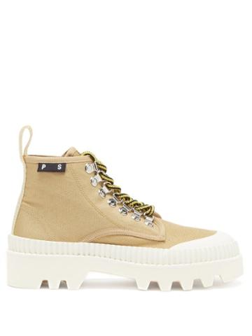 Matchesfashion.com Proenza Schouler - City Lug-sole Canvas Boots - Womens - Beige White