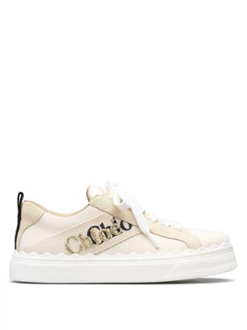 Matchesfashion.com Chlo - Lauren Logo-embroidered Canvas Trainers - Womens - White