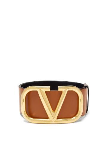 Matchesfashion.com Valentino Garavani - Reversible V-logo Leather Wide Belt - Womens - Tan