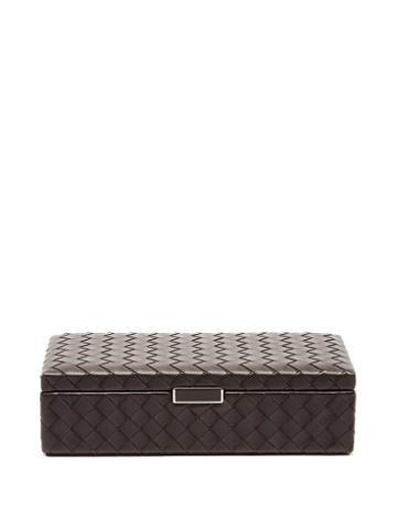 Matchesfashion.com Bottega Veneta - Intrecciato Leather Cufflinks Box - Dark Brown