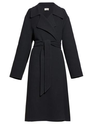 Matchesfashion.com The Row - Efo Belted Felt Coat - Womens - Dark Grey