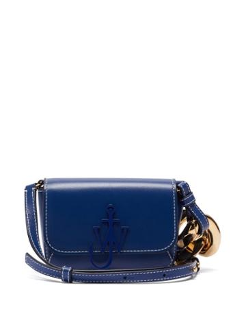 Matchesfashion.com Jw Anderson - Anchor Nano Chain-strap Leather Cross-body Bag - Womens - Navy