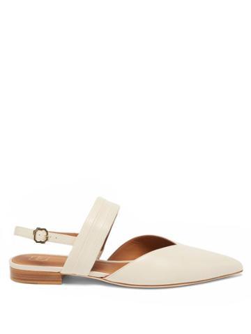 Malone Souliers - Myla Point-toe Leather Slingback Flats - Womens - White