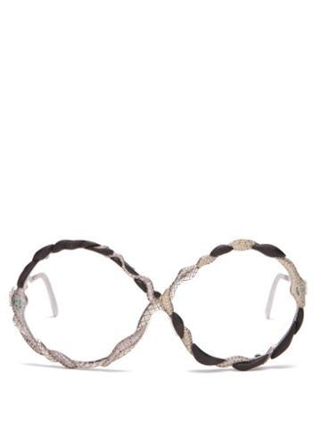 Matchesfashion.com Francis De Lara - Three Serpents Sapphire, Emerald & Diamond Glasses - Womens - Silver