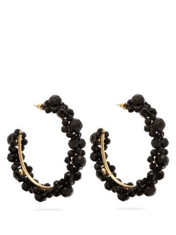 Matchesfashion.com Simone Rocha - Large Crystal Daisy Hoop Earrings - Womens - Black