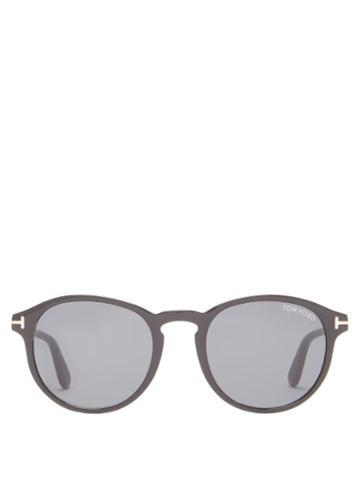 Matchesfashion.com Tom Ford Eyewear - Ian Round Acetate Sunglasses - Mens - Black