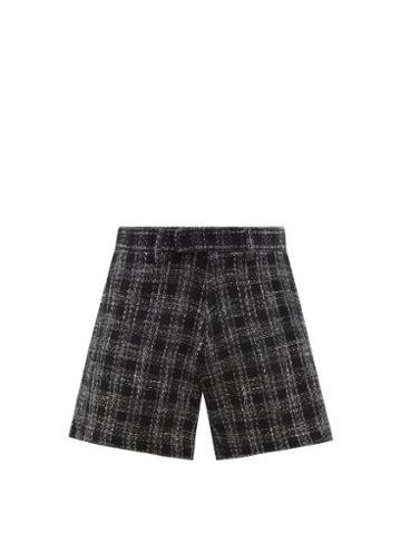 Matchesfashion.com Amiri - Check Cotton-blend Boucl Shorts - Mens - Black