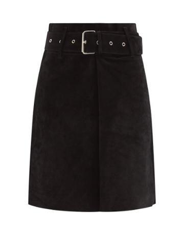 Isabel Marant - Clova Belted Suede Skirt - Womens - Black