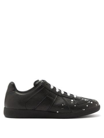 Matchesfashion.com Maison Margiela - Replica Paint-drop Grained-leather Trainers - Mens - Black White