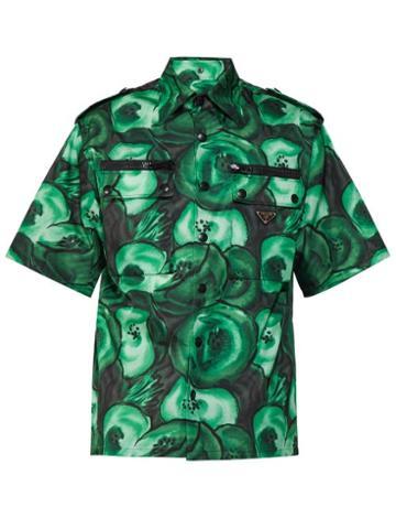 Matchesfashion.com Prada - Poppy Print Poplin Shirt - Mens - Green