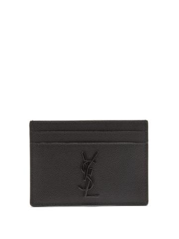 Matchesfashion.com Saint Laurent - Logo-plaque Leather Cardholder - Mens - Black