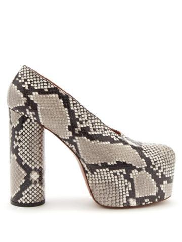Vetements - Column-heel Python-effect Leather Platform Pumps - Womens - Beige