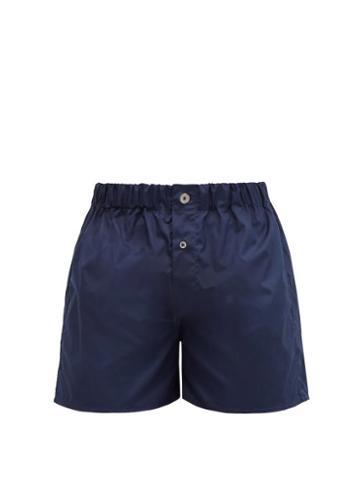 Matchesfashion.com Emma Willis - Superior Cotton-poplin Boxer Shorts - Mens - Navy
