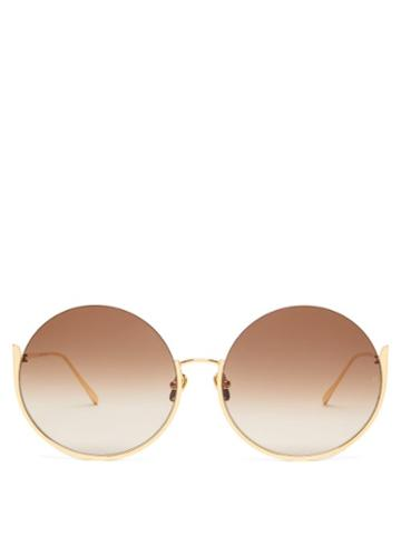 Matchesfashion.com Linda Farrow - Olivia Round Gold Plated Sunglasses - Womens - Brown Gold