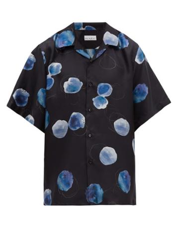 Matchesfashion.com Raey - Blobby Print Silk Satin Shirt - Mens - Navy Print