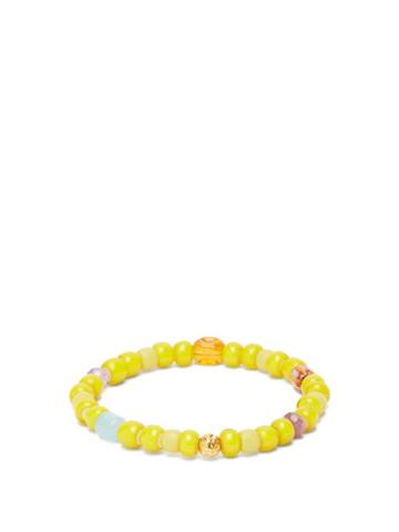 Matchesfashion.com Musa By Bobbie - Aquamarine, Amethyst & 18kt Gold Bead Bracelet - Womens - Yellow