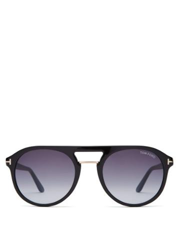 Matchesfashion.com Tom Ford Eyewear - Aviator Acetate Sunglasses - Mens - Black
