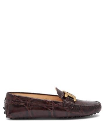 Matchesfashion.com Tod's - Kate Gommino-sole Crocodile-effect Leather Loafers - Womens - Burgundy