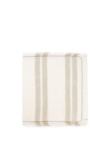 Matchesfashion.com Brunello Cucinelli - Eyelash-fringed Striped Linen-canvas Table Runner - Multi