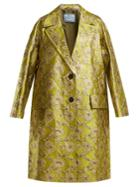 Prada Notch-lapel Floral-brocade Coat
