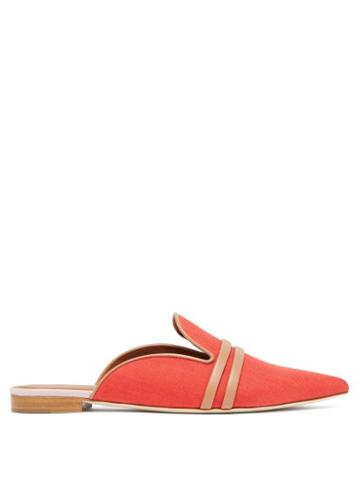 Matchesfashion.com Malone Souliers - Hermione Backless Linen Loafers - Womens - Red