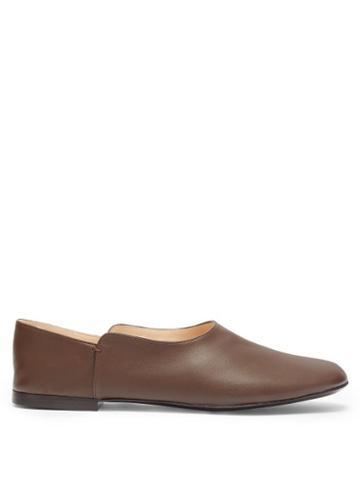 Matchesfashion.com The Row - Boheme Leather Loafers - Womens - Dark Brown
