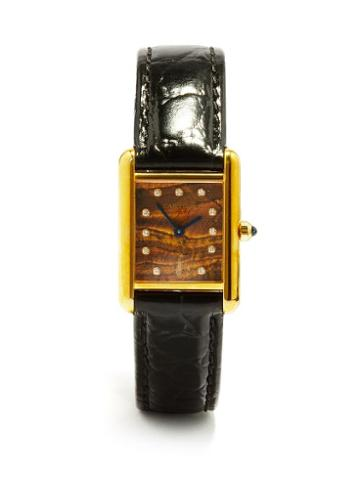 Jacquie Aiche - Vintage Cartier Tank Diamond & Gold-vermeil Watch - Womens - Black Gold