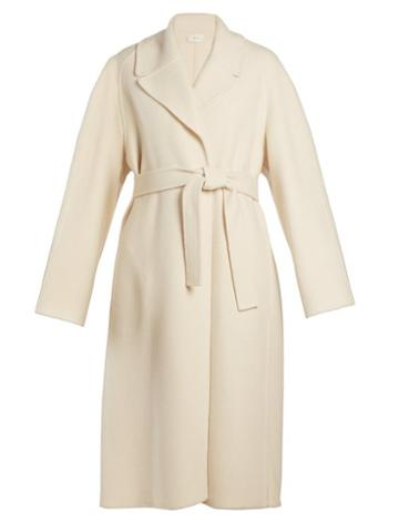 Matchesfashion.com The Row - Mesly Tie Waist Double Faced Wool Coat - Womens - Cream
