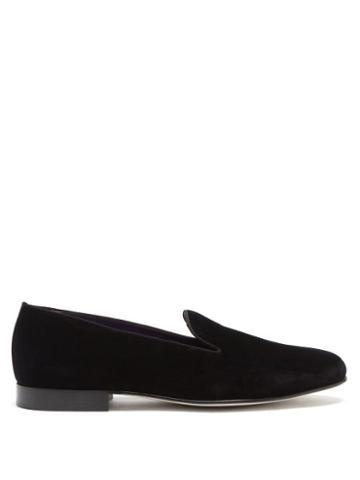 Mens Shoes Ralph Lauren Purple Label - Alonzo Cotton-velvet And Leather Slippers - Mens - Black