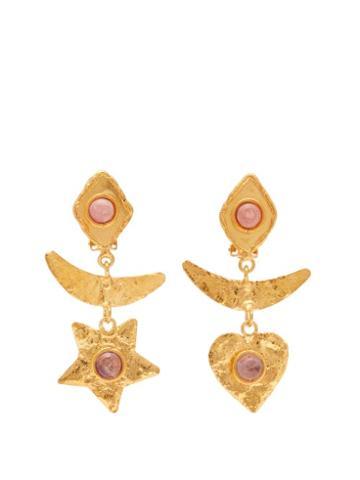 Matchesfashion.com Sylvia Toledano - Honeymoon Rodochrosite And Amethyst Clip Earrings - Womens - Gold