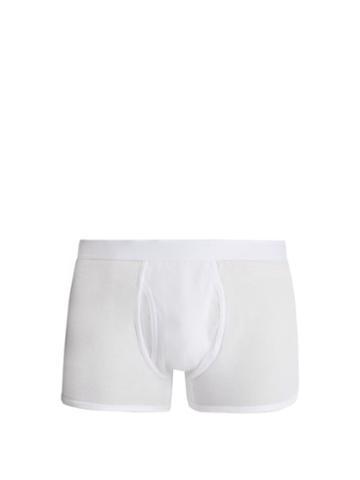 Matchesfashion.com Comme Des Garons Shirt - Cotton Jersey Boxer Trunks - Mens - White