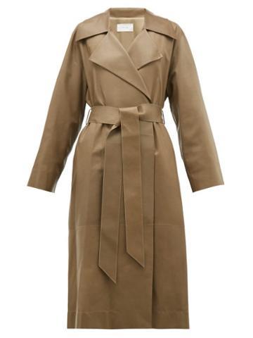 Matchesfashion.com The Row - Efo Leather Trench Coat - Womens - Dark Tan