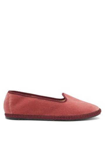 Matchesfashion.com Vibi Venezia - Whipstitched Velvet Furlane Slippers - Womens - Dark Pink