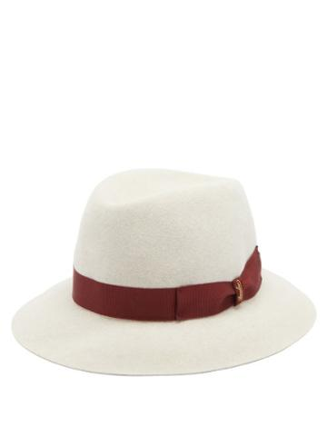 Matchesfashion.com Borsalino - Ribbon-trimmed Fedora Hat - Mens - Beige