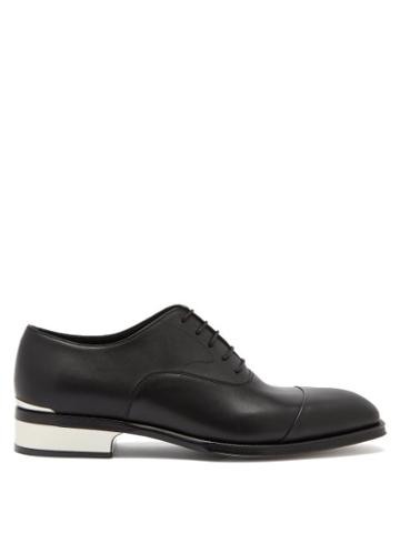 Matchesfashion.com Alexander Mcqueen - Logo-engraved Heel-plaque Leather Oxford Shoes - Mens - Black