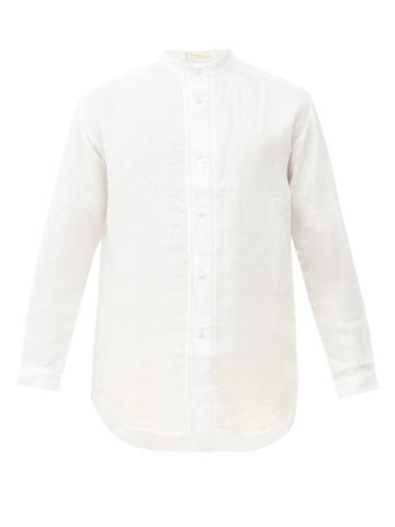 Matchesfashion.com Smr Days - Stand-collar Linen Shirt - Mens - Cream